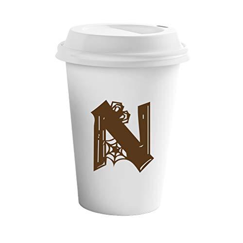 Style In Print Brown N Halloween Spider Monogram Letter N Ceramic Coffee Tumbler Travel -