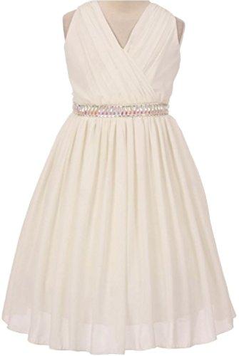 Long Charmeuse Bodice Dress (Big Girls' V Neck Chiffon Ruched Bodice Jewels Flowers Girls Dresses Off White 14)