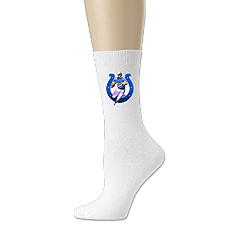 Colts Quarterback #12 Luck Men's Football Cotton Crew Athletic Socks 2-Pack,White - Colts Quarterback