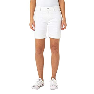 Liverpool Women's Corine Short Rolled Cuff in Stretch Denim, Bright White, 16 at Women's Clothing store