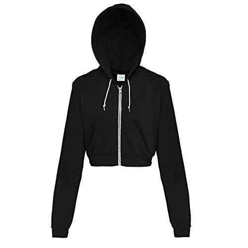 AWDis Just Hoods Womens/Ladies Girlie Cropped Full Zip Hoodie Jacket (L) (Jet (Cropped Jacket)