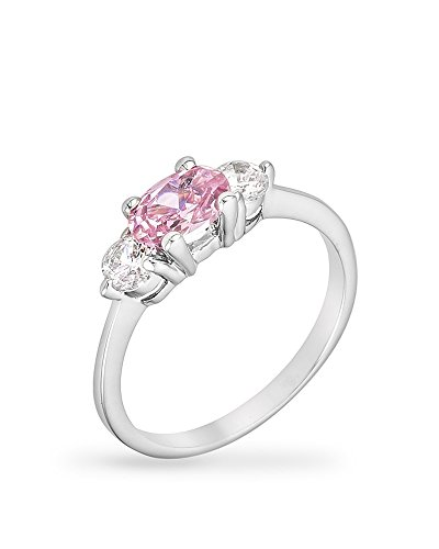 Rhodium Plated Triplet Engagement Ring with Pink Ice Color and Clear CZ in a Prong Setting Size 8