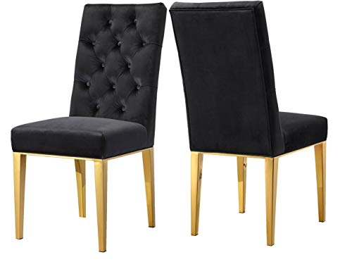 Meridian Furniture 716Black-C Capri Velvet Dining Chair, Set of 2,  Black