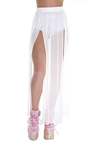 iHeartRaves White Cosmic Heroine Sheer Mesh Maxi Skirt (X-Large) -