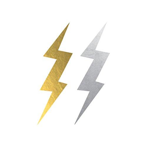 Metallic Lightning Bolts Temporary Tattoo