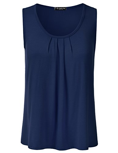 (EIMIN Women's Pleated Scoop Neck Sleeveless Stretch Basic Soft Tank Top Navy M)