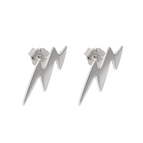 Paialco 925 Sterling Silver Lightning Flash Symbol Earrings Studs, White Gold Plating