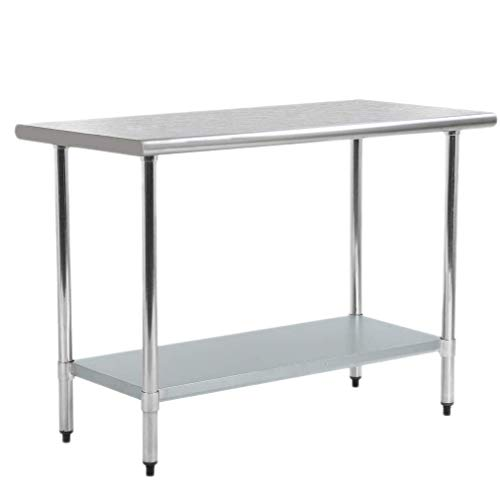 Commercial Stainless Steel Work Table-24″ x 72″ NSF Heavy Duty Workbench Industrial Food Countertop Utility Work Station w/Adjustable Undershelf, for Food Prep Kitchen Restaurant