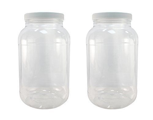 Crystal Clear PET Plastic Jars Containers with Screw on Lids 1 gallon Set of 2 Wide Mouth By Pinnacle Mercantile