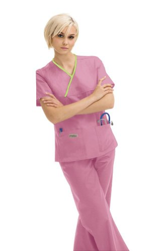 Urbane Scrubs Double Pocket Crossover Top , Cherry Blossom With Pear, 3XL