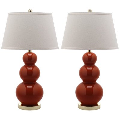 Safavieh Lighting Collection Pamela Blood Orange Triple Gourd 27-inch Table Lamp (Set of 2) (Gourd Triple Lamp)