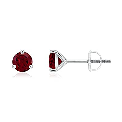 Angara Basket-Set Round Garnet Stud Earrings with Diamond in Platinum sHUCY4