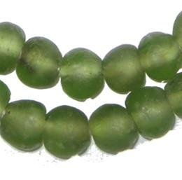 - African Recycled Glass Beads - Full Strand Eco-Friendly Fair Trade Sea Glass Beads from Ghana Handmade Ethnic Round Spherical Tribal Boho Krobo Spacer Beads - The Bead Chest (14mm, Asparagus Green)