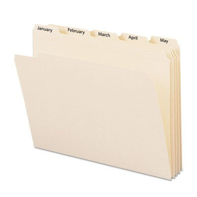 Indexed File Folders, 1/5 Cut, Indexed Jan-Dec, Top Tab, Letter, Manila, 12/Set, Sold as 12 Each ()