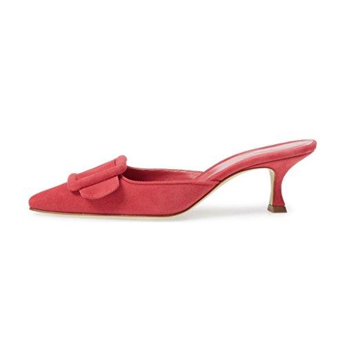 Xyd Donna Mule Toe Sandali Punta Scamosciata Slip On Bassi Gattino Fibbia Scarpe Con Cinturino Rosso