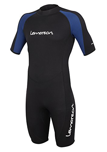 Lemorecn Wetsuits Mens Premium Neoprene Diving Suit 3mm Shorty Jumpsuit(3035,2XL)