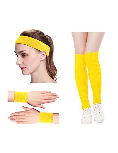 KIMBERLY S KNIT Women 80s Neon Pink Running Headband Wristbands Leg Warmers Set (Free, -