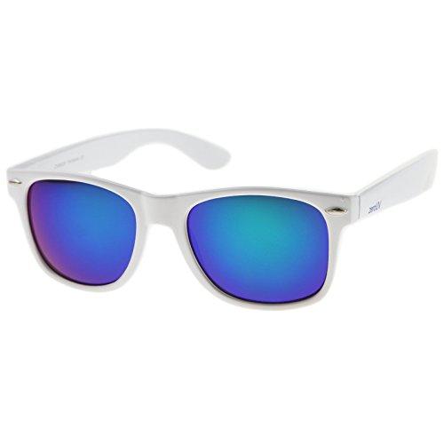 zeroUV - Hipster Fashion Flash Color Mirror Lens Horn Rimmed Style Sunglasses (White / - Mens White Wayfarer Sunglasses