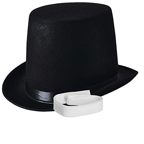 NJ Novelty - Top Hat Black Felt Costume Accessory Party Dress Up Hats Tall -