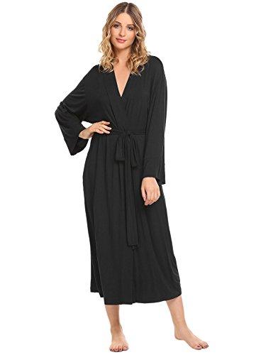 Acecor Women's Soft Long Sleepwear Modal Cotton Wrap Robe Bathrobe (Full Robe)