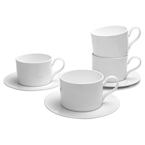 Pomelo Best Porcelain Espresso Cups and Saucers, 200 ML / 6.7-Ounce, Pearl White, Set of 4