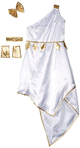 IFdistrict Halloween Party Costume Role-Playing Games Greek Goddess Athena Princess Dress with Jewelry Accessory White