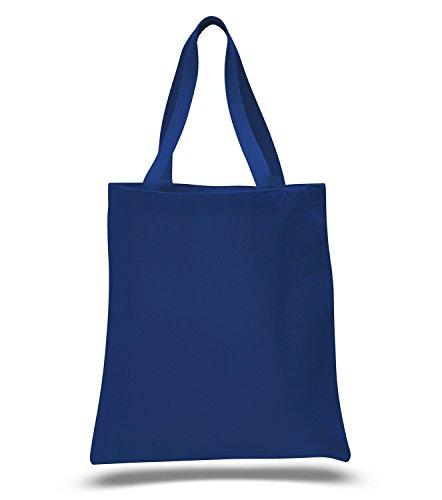 (12 Pack) 1 Dozen - Heavy Cotton Canvas Tote Bags (Royal)
