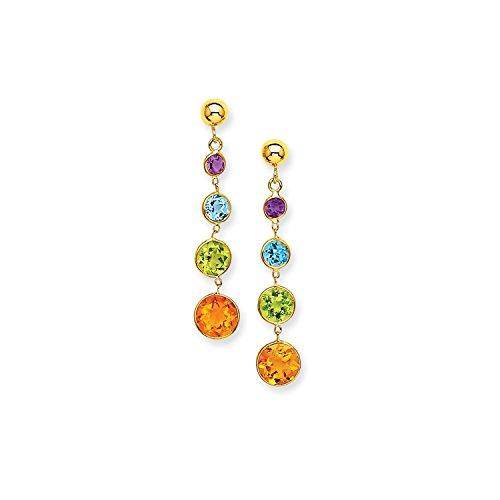 Yellow Gold Muti-Gemstone Dangle Post Earrings (14k Muti Gemstone)