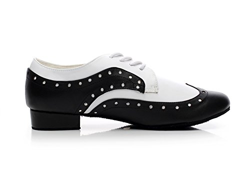 Minitoo Men's JF250501 Comfortable Leather Ballroom Latin Dance Shoes Style3-Black/White WwNMT8