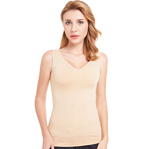 Bulking Women Slimming Tank top with Firm Tummy Control Shapewear Camisole Seamless Shaping Tops (Large, V-Brown)
