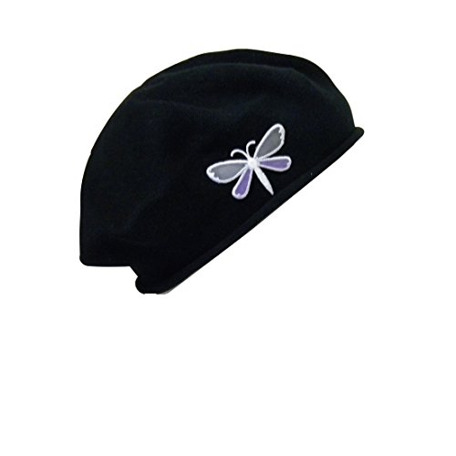 Black Beret with Dragonfly Women 100% Cotton Solid Hat Headcover for Hair Loss Fashion Modesty