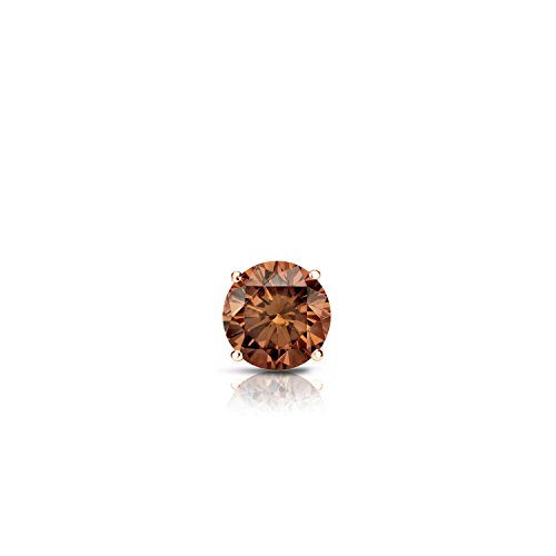 Diamond Wish 14k Rose Gold Single Stud Round Brown Diamond Earring (1/8 ct, Brown, SI1-SI2) 4-Prong Basket with Push-Back ()