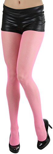 Fishnet Panty - ToBeInStyle Women's Sexy Seamless Fishnet Full Footed Panty Hose Tights Hosiery (One Size Queen, Neon Pink)