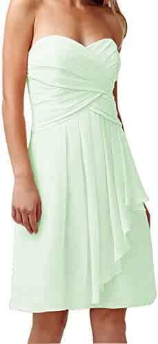 Stylefun Bridesmaid Dress V-Neck Chiffon A-Line Gown Wedding Guests Dresses for Women BD064