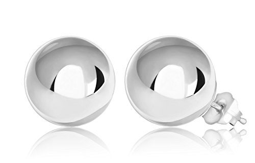 14K White Gold Ball Stud Earrings (10mm - White Gold)