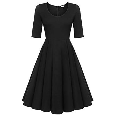 ELESOL Women's Half Sleeve Swing Dress Flower Print A Line Tea Dress at Women's Clothing store