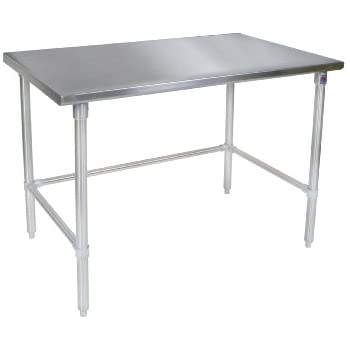 John Boos ST6 3060SSK Stainless Steel Stallion Work Table With Lower Shelf,  Adjustable Legs
