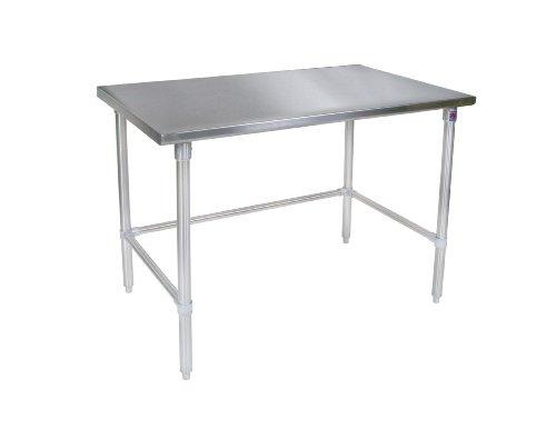 John Boos ST6-3072SSK Stainless Steel Stallion Work Table with Lower Shelf, Adjustable Legs, Flat Top, 72'' Length x 30'' Width by John Boos