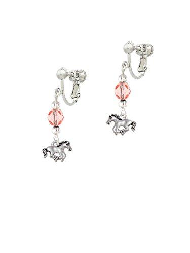 Silvertone Mini Running Horse Pink Czech Glass Bead Dangle Clip On Earrings