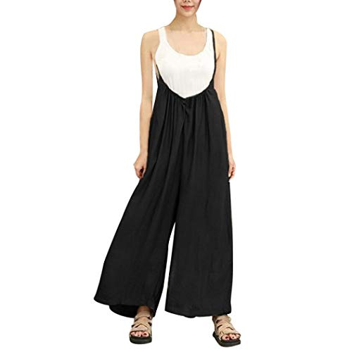 iYBUIA Cotton Wide Leg Pants for Women Vocation Dungarees Casual Jumpsuits Long Trousers Rompers(Black,L)