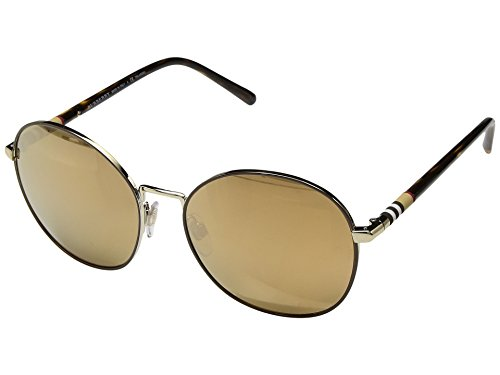 Burberry Women's 0BE3094 Light Gold/Dark Brown/Mirror Gold Polarized One - Warranty Burberry