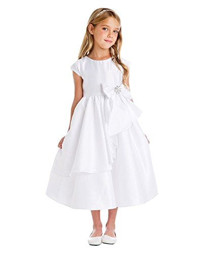 iGirldress White Flower Girl First Communion Pageant Wedding Birthday Dress SK750 Size 8]()