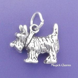 (925 Sterling Silver 3-D Scottish Terrier Dog Scottie Charm Pendant Jewelry Making Supply, Pendant, Charms, Bracelet, DIY Crafting by Wholesale Charms)