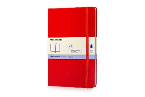 Moleskine Art Sketchbook, Hard Cover, Large (5 x 8.25) Plain/Blank, Scarlet Red