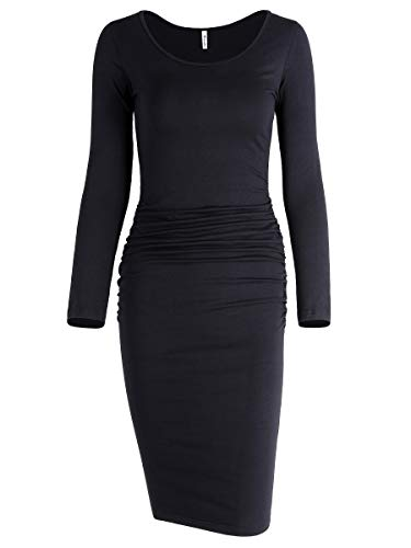 Missufe Women's Long Sleeve Ruched Bodycon Knee Length Sheath Maternity T-Shirt Fitted Beach Dress (Scoop Neck Black, Small)