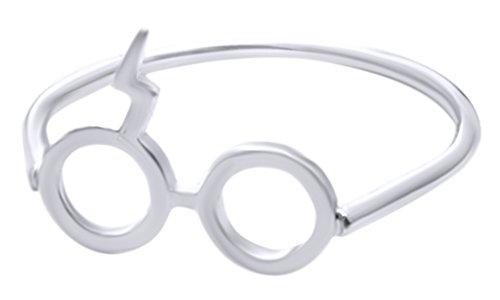 Harry Potter Lightning Scar Glasses Ring In 14K White Gold Over Sterling - Styles Glasses In Harry