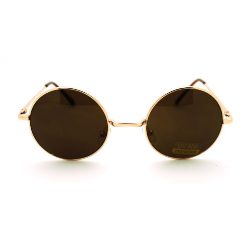 Gold Brown 70s Hippie John Lennon Circle Lens Imagine Groovy Wire Rim - Sunglasses Circle Gold