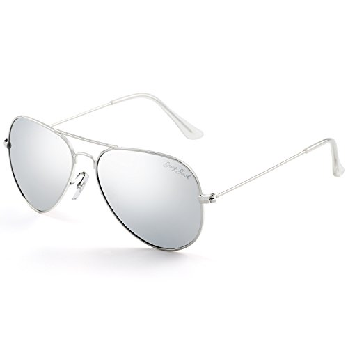 (GREY JACK Polarized Classic Aviator Sunglasses Lightweight Style for Men Women Silver Frame Silver Lens Large)