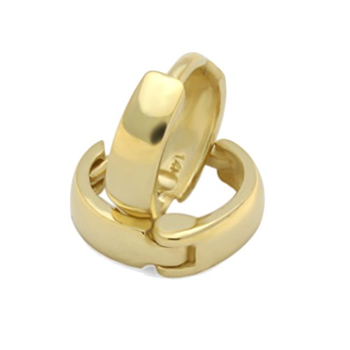 14K Yellow Gold Plain 2 X 6mm Domed Small Huggie Hoop - Plain Accent