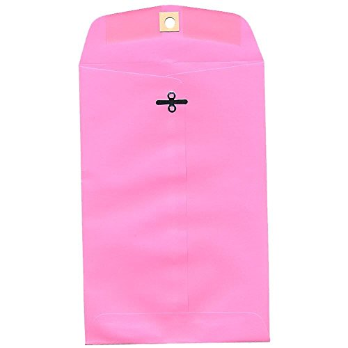 """JAM Paper 6"""" x 9"""" Open End Envelope with Clasp Closure - Ultra Pink (Light/Baby Pink) - 10/pack"""